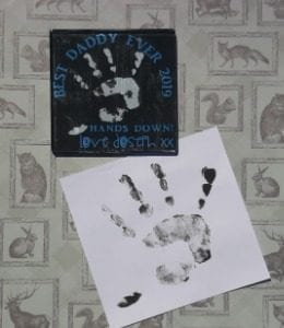 hand print coaster